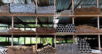 Different sizes of steel tubes on the shelf