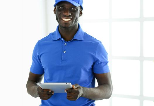 Portrait of an handsome happy deliverer with folder.